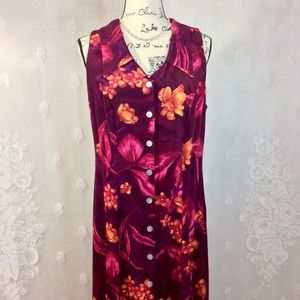 Vintage Maroon Pink Tropical Print Maxi Dress 12